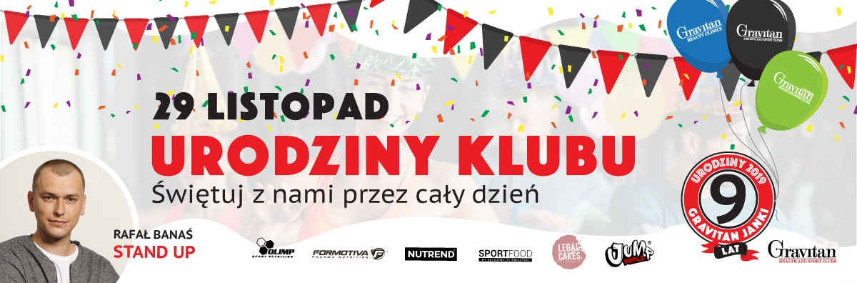 Zapraszamy 29 listopada na 9 Urodziny Klubu Gravitan w Jankach